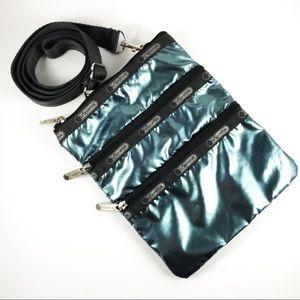 LeSportsac metallic aqua blue crossbody bag